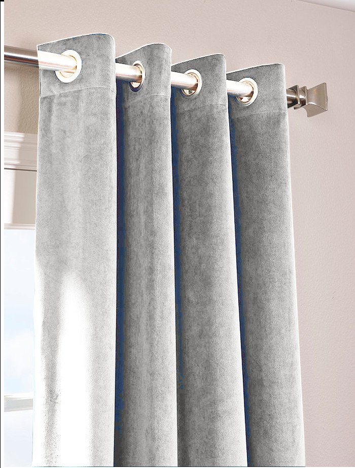 "SILVER - Vintage Blackout 100% Cotton Velvet Lined Curtain Long Door Panel-50""W X 144""L"