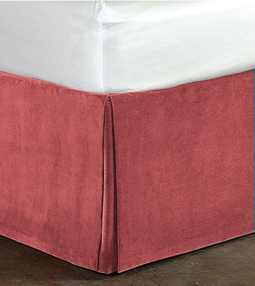 "New Cal King Size 15""Drop 100% Cotton Velvet Bedskirt/Valance Box Pleated - Carnation"