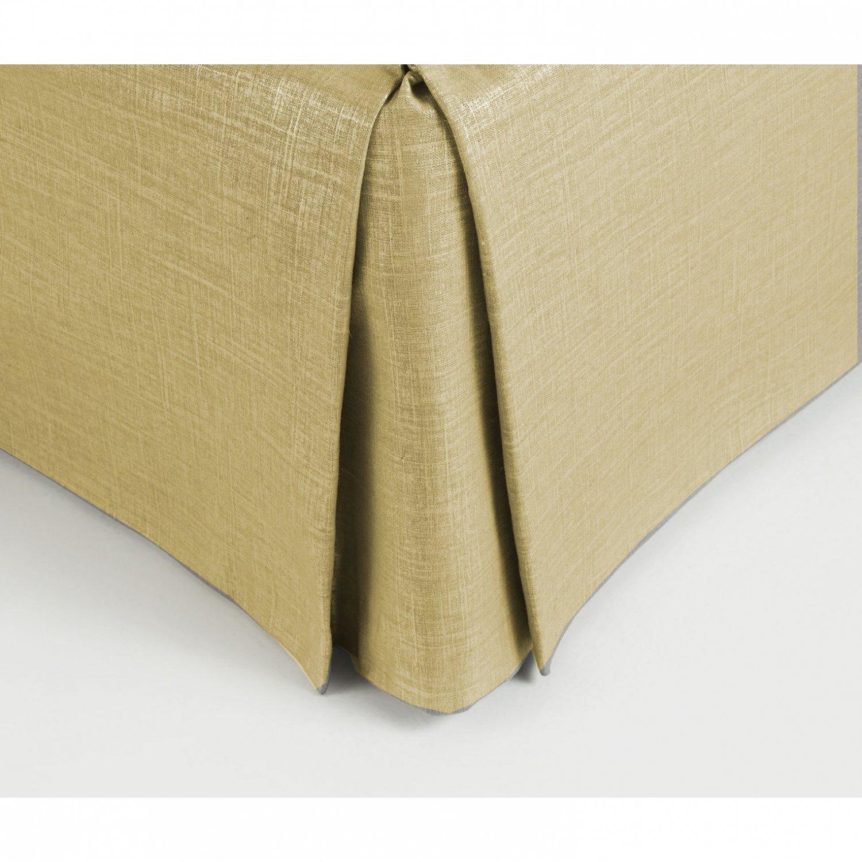 "New Twin Size 15"" Drop 100% Dupioni Silk Box Pleated Bedskirt/Valance - Taupe"