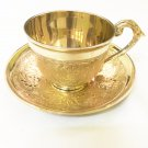 2pc Tea Coffee Cup And Plate/Soucer Set Copper Brass Made For Kitchen Use