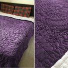 New King/Cal King Size Royal 100% Cotton Velvet Quilt Abstarct Design - Berry