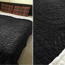 New King/Cal King Size Royal 100% Cotton Velvet Quilt Abstarct Design - Black