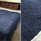 New King/Cal King Size Royal 100% Cotton Velvet Quilt Abstarct Design - Navy Blue