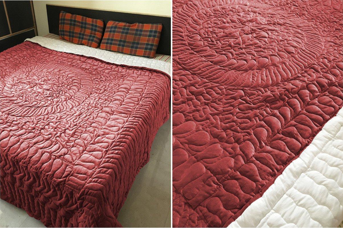 New Full/Queen Size Royal 100% Cotton Velvet Quilt Abstarct Design - Burgundy
