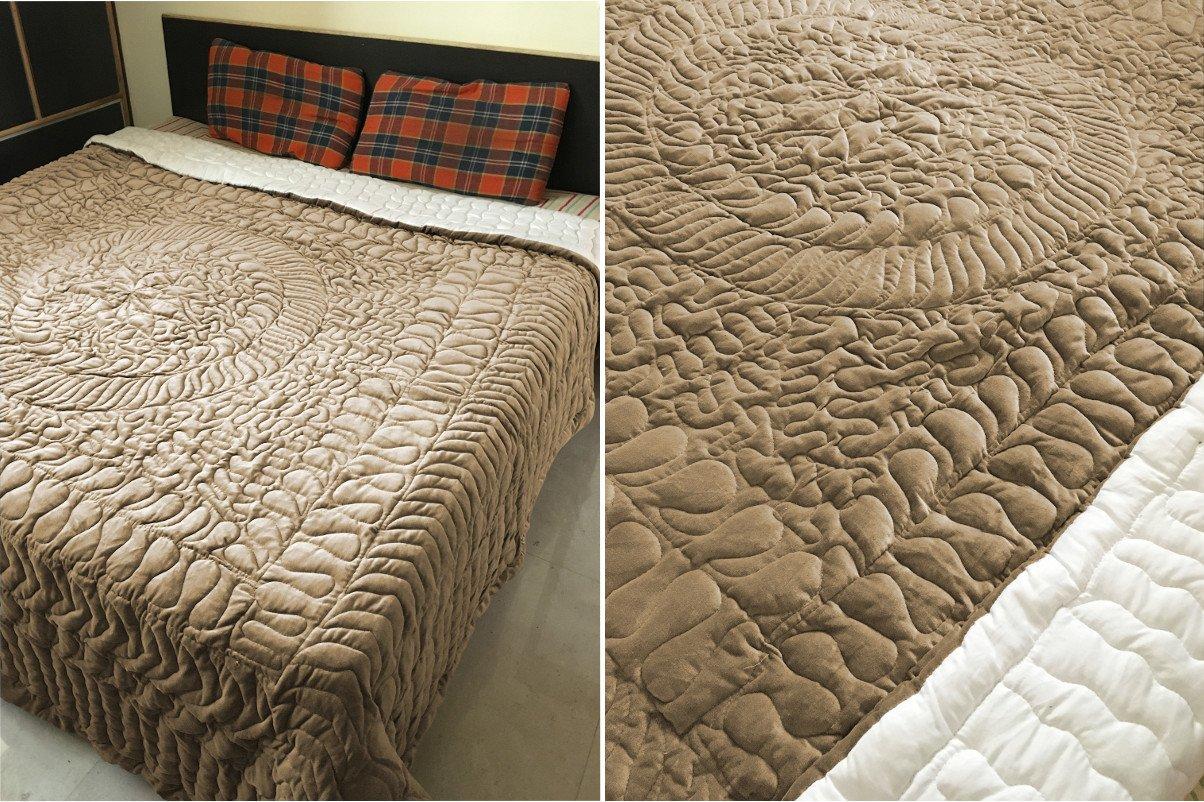 New Full/Queen Size Royal 100% Cotton Velvet Quilt Abstarct Design - Mocha