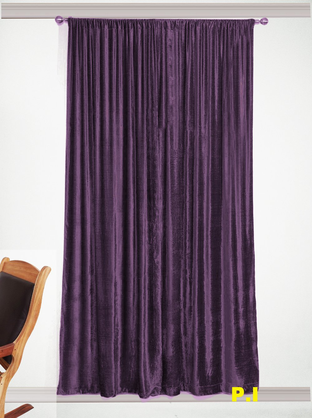 "New Blackout 100% Cotton Velvet Curtain Single Lined Panel 54""W by 108""H - Berry"