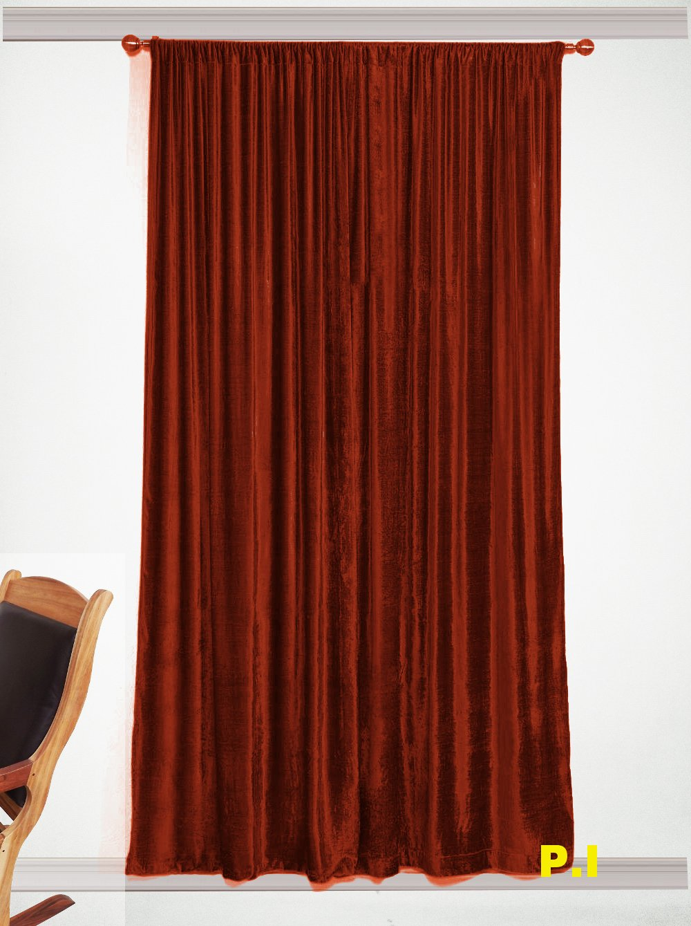 """New Blackout 100% Cotton Velvet Curtain Single Lined Panel 54""""W by 108""""H - Bronze"""