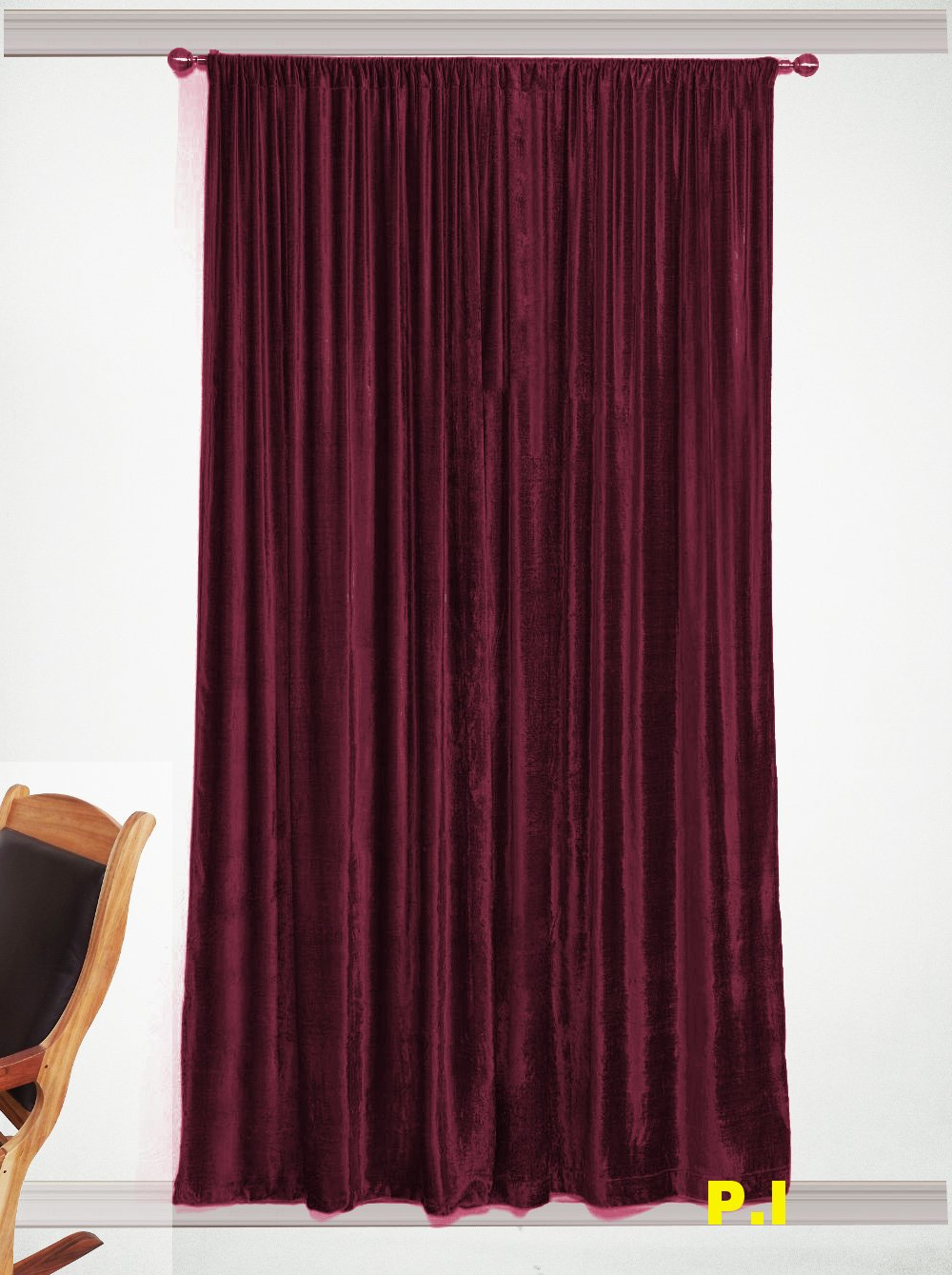 "New Blackout 100% Cotton Velvet Curtain Single Lined Panel 54""W by 108""H - Grapes"