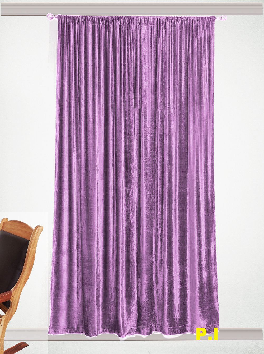 """New Blackout 100% Cotton Velvet Curtain Single Lined Panel 54""""W by 108""""H - Lavender"""