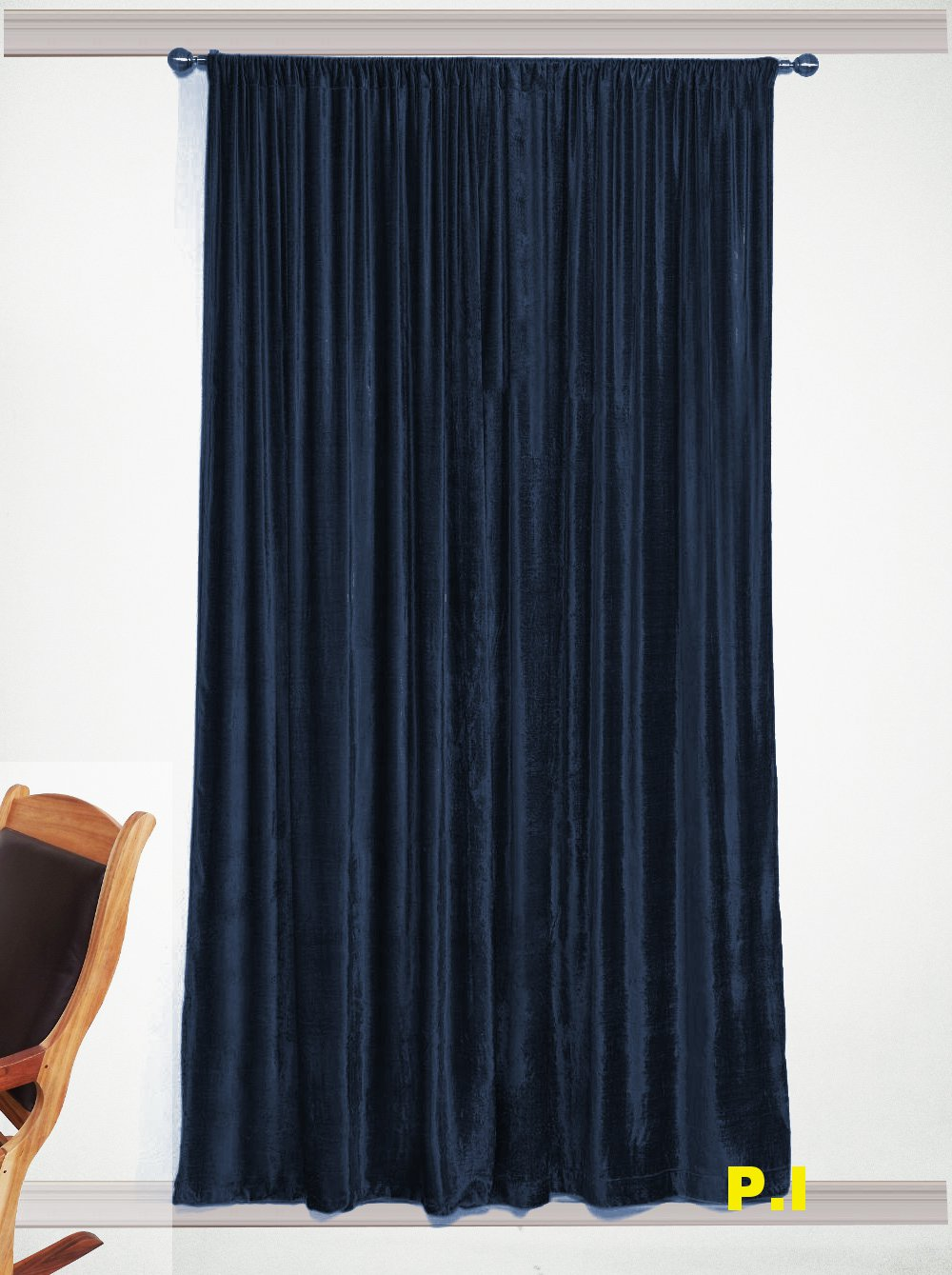 "New Blackout 100% Cotton Velvet Curtain Single Lined Panel 54""W by 108""H -Navy Blue"