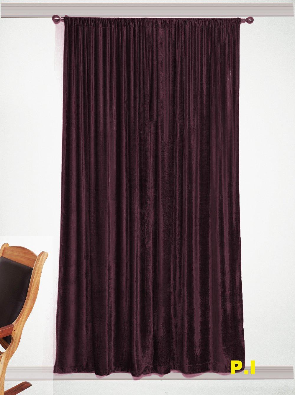 "New Blackout 100% Cotton Velvet Curtain Single Lined Panel 54""W by 108""H - Plum"