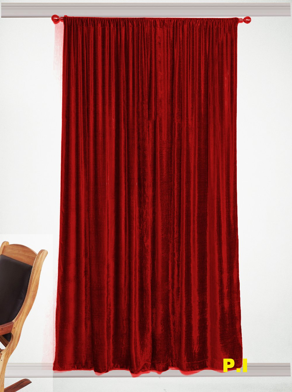 """New Blackout 100% Cotton Velvet Curtain Single Lined Panel 54""""W by 108""""H - Ruby Red"""