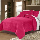Fuschia Twin/Twin XL 100% Velvet & Cotton Reversible Duvet Quilt Cover Set 3pcs