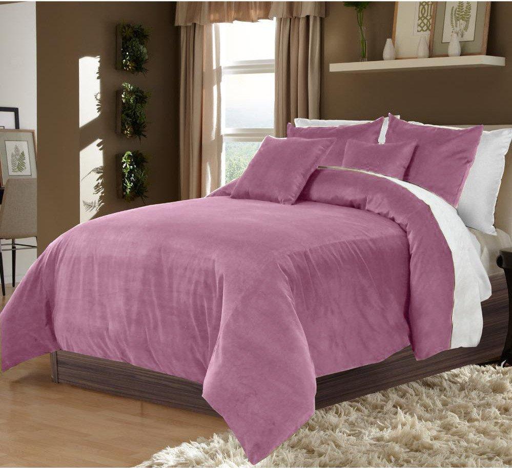 Lavender Twin/Twin XL 100% Velvet & Cotton Reversible Duvet Quilt Cover Set 3pcs