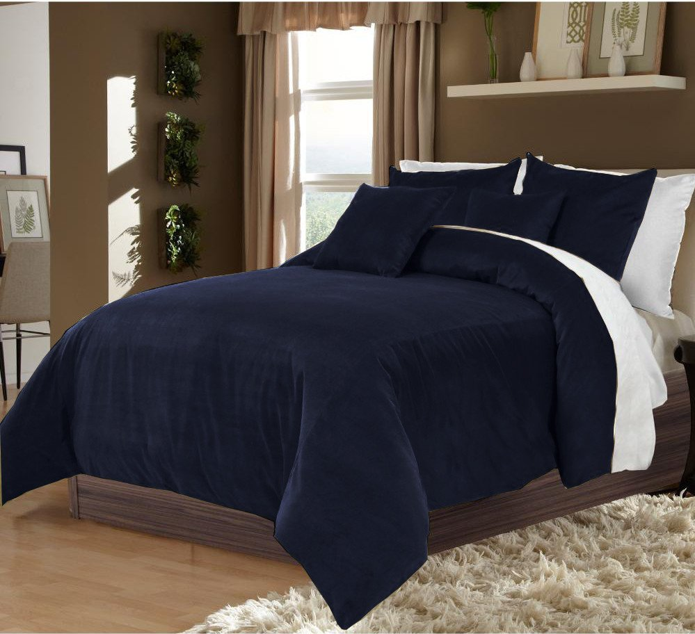 Navy Blue Twin/Twin XL 100% Velvet & Cotton Reversible Duvet Quilt Cover Set 3pcs