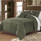 Stone Twin/Twin XL 100% Velvet & Cotton Reversible Duvet Quilt Cover Set 3pcs