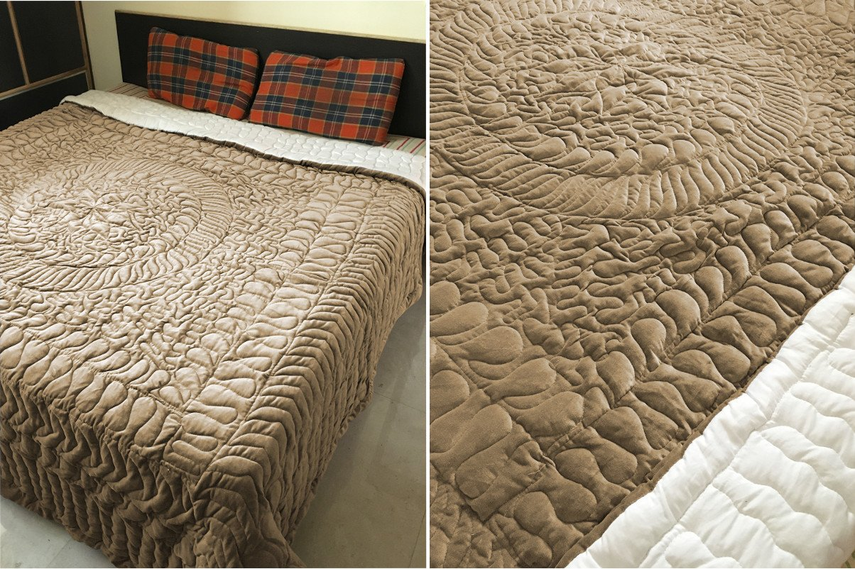 New Twin/Twin XL Size Royal 100% Cotton Velvet Quilt Abstarct Design - Mocha