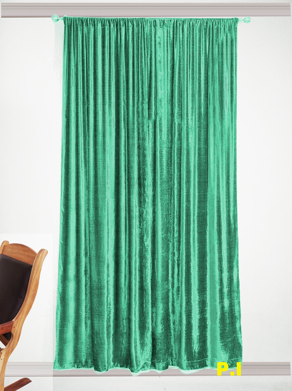 "Absolute Zero Blackout Home Theater Eyelet Velvet Curtain 50""W X 72""L Peacock Green"