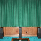 VINTAGE 100% COTTON VELVET BLACKOUT STAGE/THEATRE/STUDIO CURTAIN-PEACOCK GREEN 7FT W X 9FT H