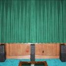 VINTAGE COTTON VELVET BLACKOUT WINDOW/DOOR LINED CURTAIN - PEACOCK GREEN 66''W X 72''H