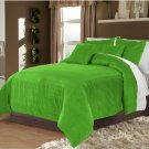 Full/Queen 100% Velvet-Egytian Cotton Reversible  SAGE GREEN  Duvet Quilt Cover Set 3pc