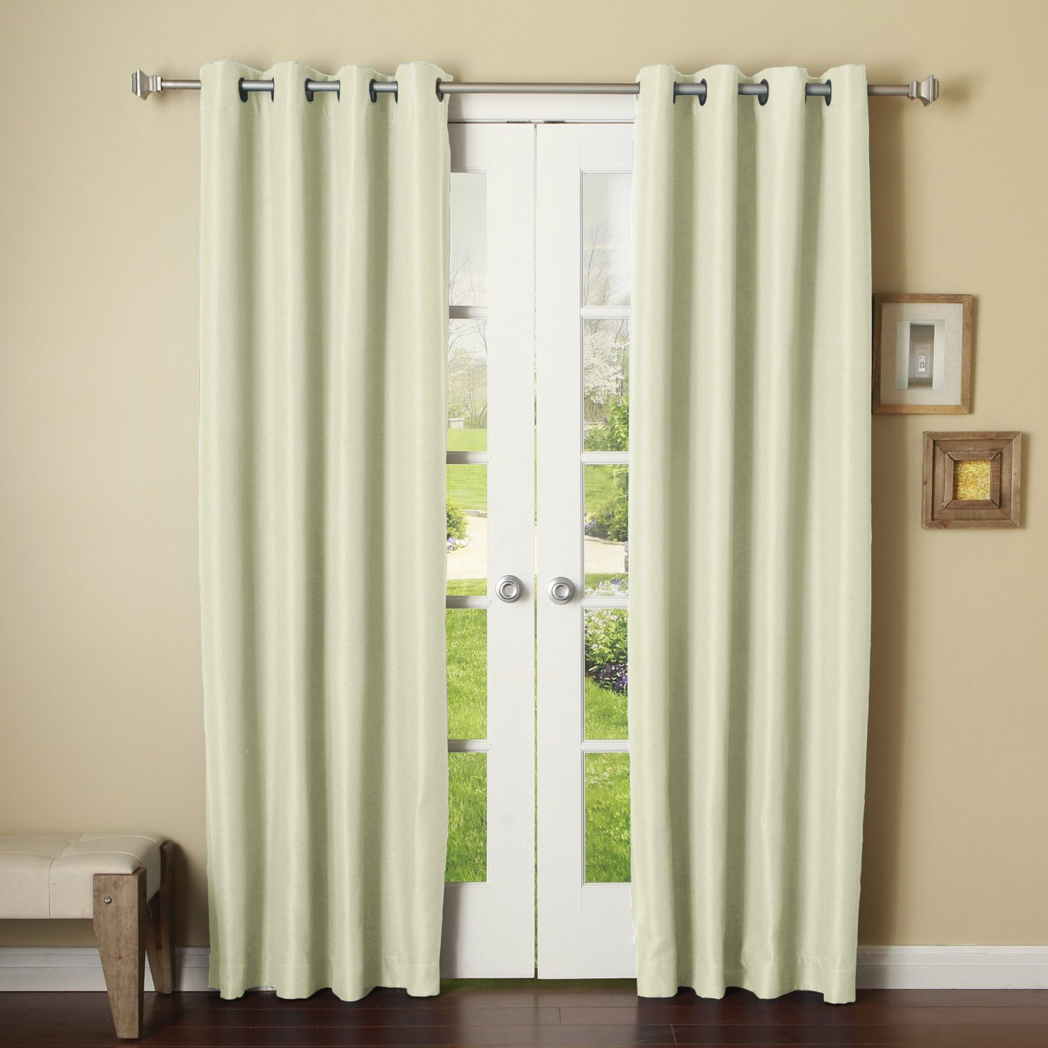 WHITE,2 PANELS GROMMET THERMAL INSULATED BLACKOUT WINDOW CURTAIN DRAPE 46X84
