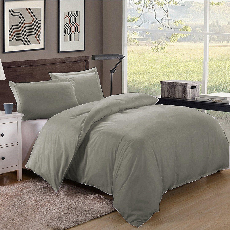 Twin/Twin XL Size 600TC 100% Egyptian Cotton ultra soft Duvet Cover 3pcs Set ,Dark Grey