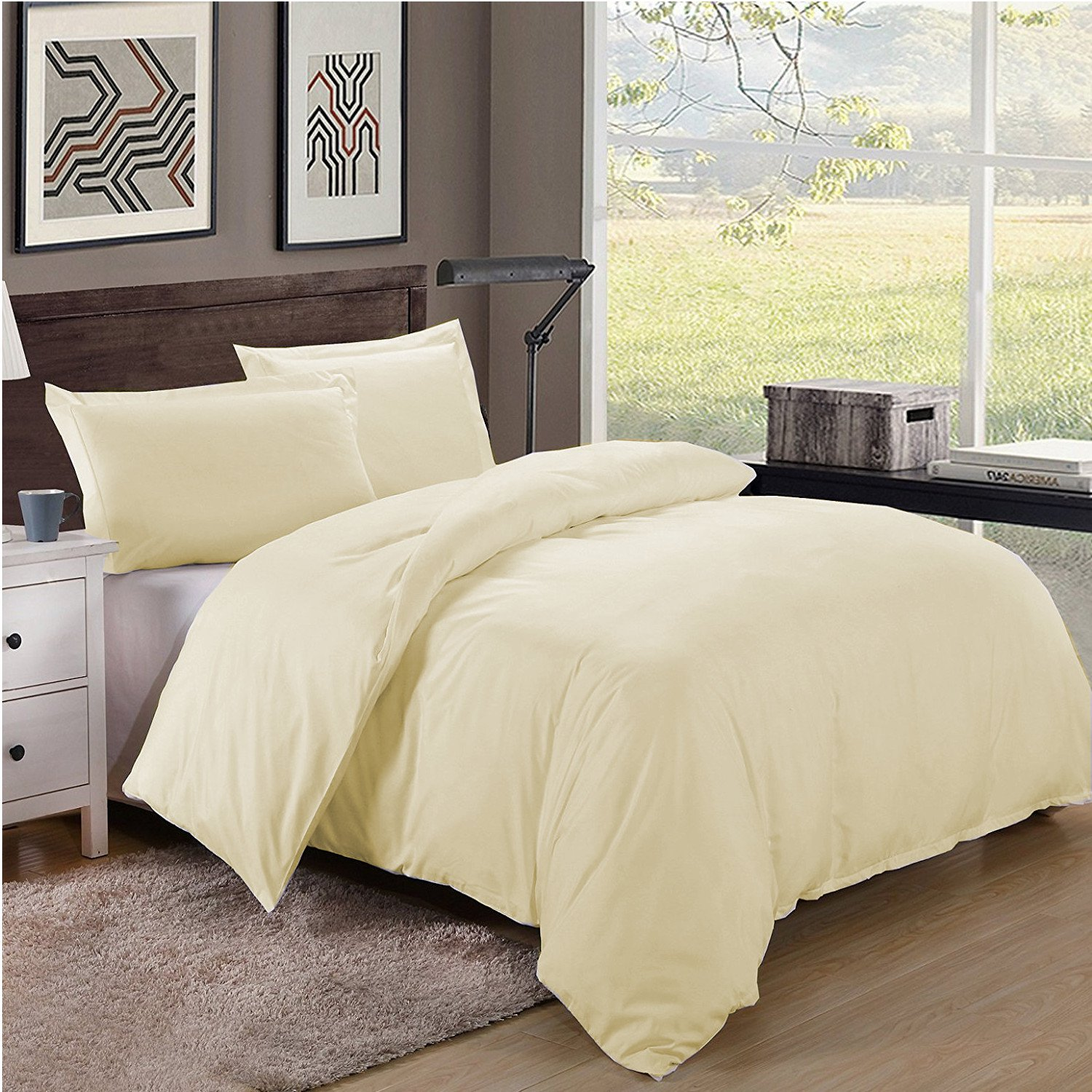 Twin/Twin XL Size 600TC 100% Egyptian Cotton ultra soft Duvet Cover 3pcs Set ,Cream