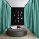 AQUA Blackout Double Sided Velvet Curtain Privacy Room Divider Panel-9W by 9H ft