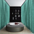AQUA Blackout Double Sided Velvet Curtain Privacy Room Divider Panel-12W by 9H ft