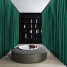PEACOCK GREEN Blackout Double Sided Velvet Curtain Privacy Room Divider Panel-12W by 9H ft