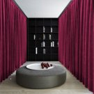 WINE Blackout Double Sided Velvet Curtain Privacy Room Divider Panel-15W by 10H ft