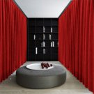 RUBY RED Blackout Double Sided Velvet Curtain Privacy Room Divider Panel-15W by 10H ft