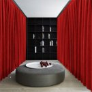 Ruby Red Blackout Double Sided Velvet Curtain Privacy Room Divider Panel-20W by 10H ft