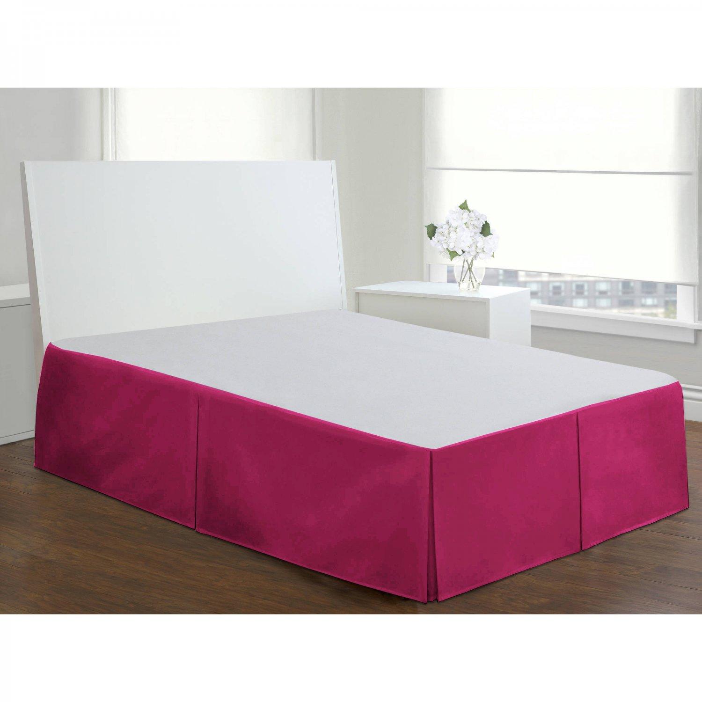 """Velvet Bed Skirt Queen Size 18""""Drop Box Pleated Sheen Bedskirt Valance   Pink"""