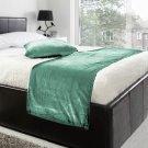 "20""W X 50""H   VELVET BED RUNNER SET   Scarf   Throw   with 2 cushion cover(20""x20"")   Aqua Blue"