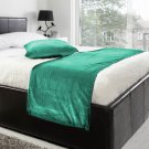 """20""""W X 50""""H   VELVET BED RUNNER SET   Scarf   Throw   with 2 cushion cover(20""""x20"""")   Peacok Green"""