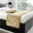 """20""""W X 76""""H   VELVET BED RUNNER SET   Scarf   Throw   with 2 cushion cover(20""""x20"""")   Mocha"""
