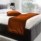 """20""""W X 95""""H   VELVET BED RUNNER SET   Scarf   Throw   with 2 cushion cover(20""""x20"""")   Bronze"""