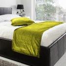 "20""W X 95""H | VELVET BED RUNNER SET | Scarf | Throw | with 2 cushion cover(20""x20"") | Lemon Grass"