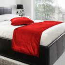 """20""""W X 95""""H   VELVET BED RUNNER SET   Scarf   Throw   with 2 cushion cover(20""""x20"""")   Red"""