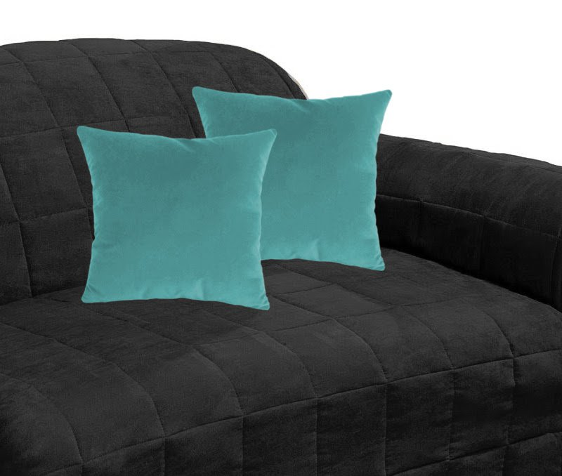 "16x16""   Suede Decorative Cushion Covers Thow Pillow Covers 2PCs Shams   Ocean Blue"