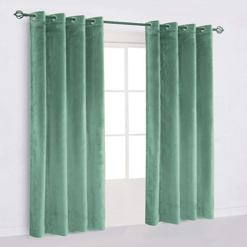 "50""X64""   Eyelet Grommet Cotton Velvet Curtains Lined Panels 2pcs Drapes Window Door   Aqua Blue"