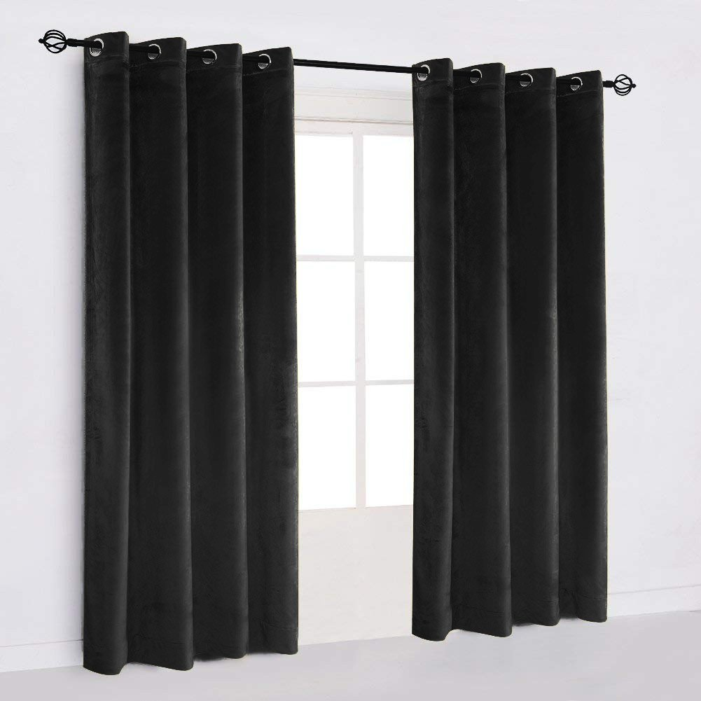 "50""X64"" | Eyelet Grommet Cotton Velvet Curtains Lined Panels 2pcs Drapes Window Door | Black"