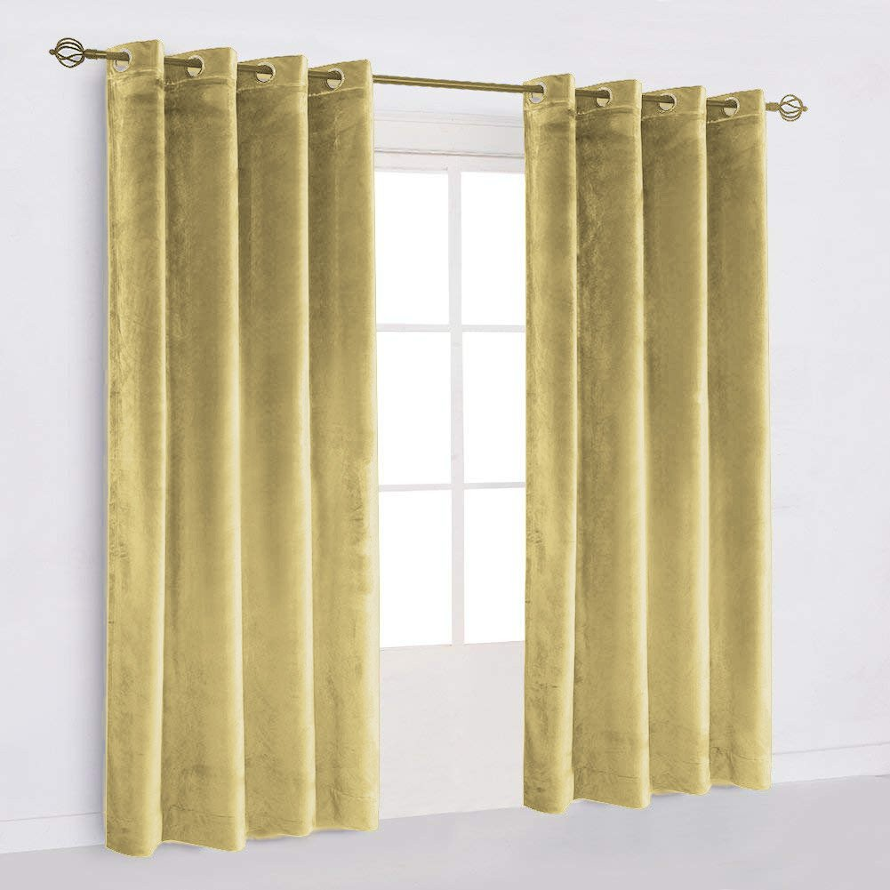 "50""X64"" | Eyelet Grommet Cotton Velvet Curtains Lined Panels 2pcs Drapes Window Door | Champagne"