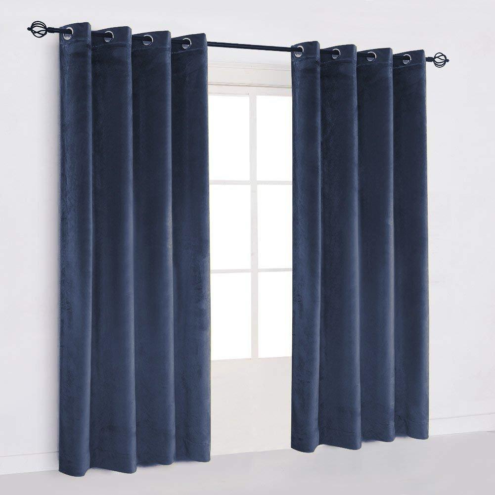 "50""X64"" | Eyelet Grommet Cotton Velvet Curtains Lined Panels 2pcs Drapes Window Door | Navy Blue"