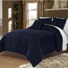 Hotel Collection Bedding,100% Velvet Navy Blue Twin/TwinXL Duvet Quilt Cover Set