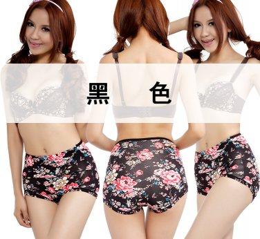 Bamboo Fiber Floral High-waist Panties Printing Flowers Ladies Underwear Womens Lingerie VIP096