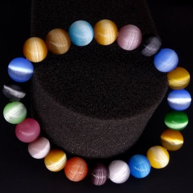 Colorful Bracelet Natural Fashion Cats-eye Stone Jade Beaded Stretchable VIP097