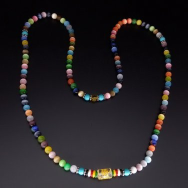 Colorful Necklace Natural Fashion Cats-eye Stone Jade Beaded Bracelet VIP098